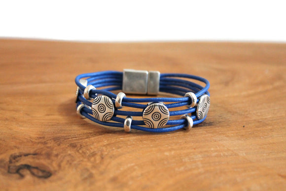 Royal Blue Corded Leather Magnetic Bracelet With Silver Circles