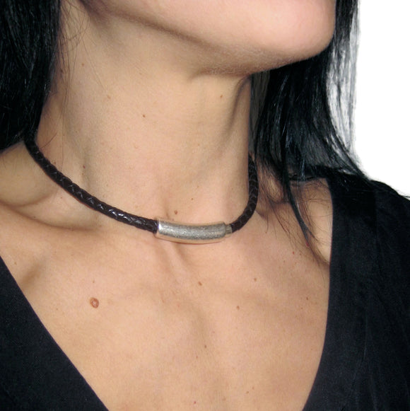 Thin Braided Unisex Leather Magnetic Necklace Choker