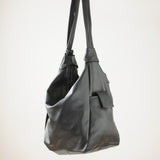 Leather Backpack Convertible to Purse, Knapsack Purse Black Bianca