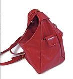 Leather Backpack Convertible to Purse, Knapsack Purse Red Bianca