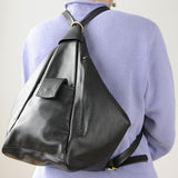 Leather Backpack Convertible to Purse, Knapsack Purse on Model Back Bianca