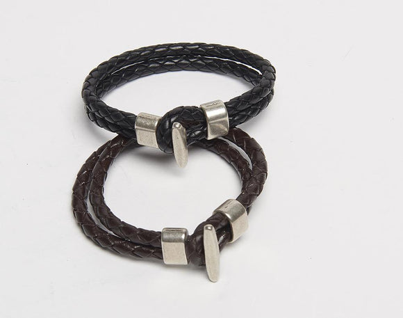 Mens Braided Leather Bracelet with Hook Closure.