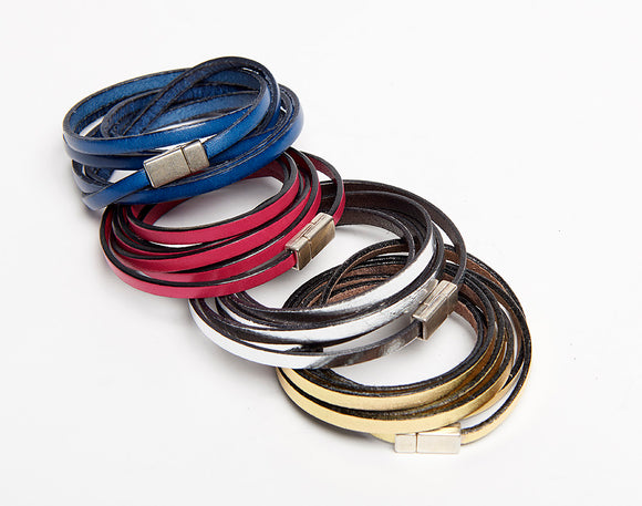 Thin Leather Multi Wrap Magnetic Bracelet, Leather Wrist Wrap