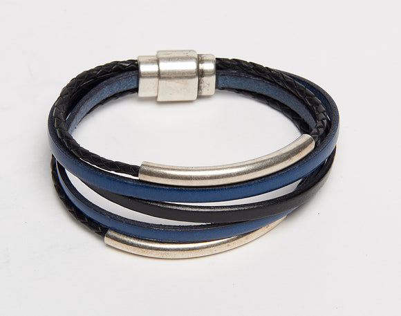 Multi Strand Silver Tubular Leather Magnetic Bracelet