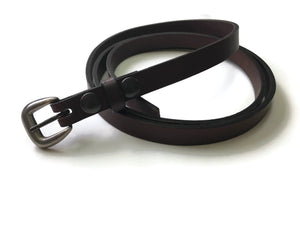 Strong Narrow Harness Leather Casual Jean Belt-3/4″ Wide Brown