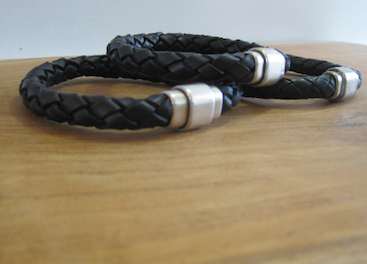 thick braided leather bracelet with magnet