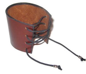 Wide Leather Laced Medieval Cuff, Reenactment Leather Bracelet