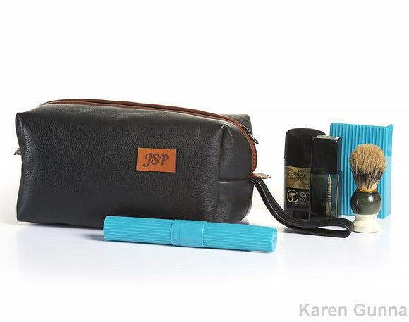 Personalized Leather Toiletry Case, Mens Shaving Kit, Razor bag.