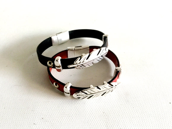 Silver Feather Genuine Leather Magnetic Bracelet