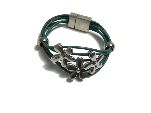 Teal Corded Leather Magnetic Bracelet With Silver Flowers