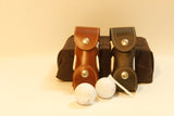 Personalized Leather Golf Ball Pouch with Golfing Tees