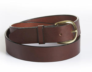 "Harness Leather Mens Belt, Casual Jeans Belt - 1"" Wide Brown"
