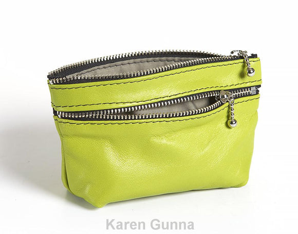 3 zipped coin purse in lime