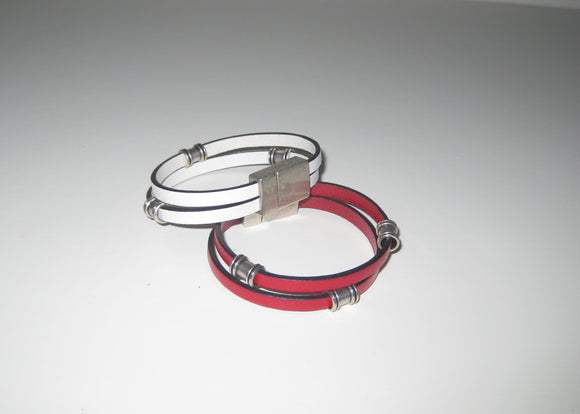 Leather Magnetic Bracelet With Antique Silver Beads