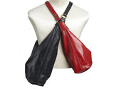 Large Red Leather Cross Body Hobo Bag