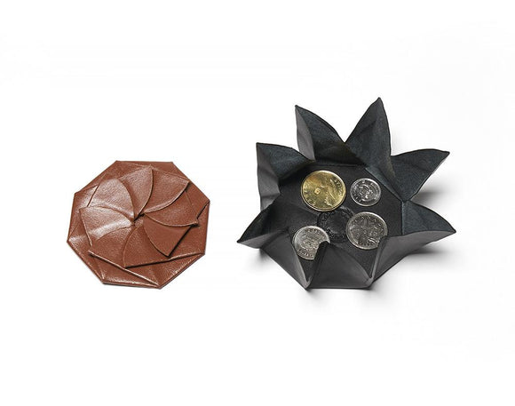 Leather Origami Coin Pouch, Folding Change Purse, Pinwheel Coin Purse.