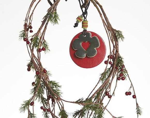 Leather Christmas Tree Ornaments, Christmas Flower Decoration.