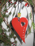 Leather Christmas Tree Ornaments, Christmas Heart Decoration.
