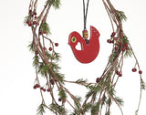 Leather Christmas Tree Ornaments, Christmas Bird Decoration