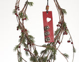 Leather Christmas Tree Ornaments, Christmas Rectangle Bells Decoration in branch