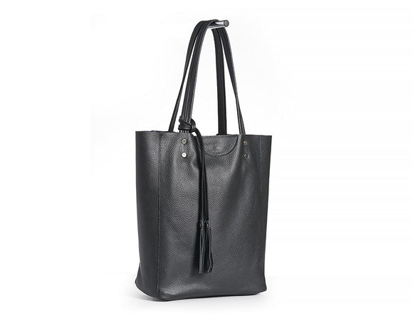 Large Black Leather Tote Shopping Bag.