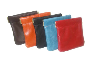 Personalized Leather Squeeze Coin Purse, Squeeze Coin Pouch
