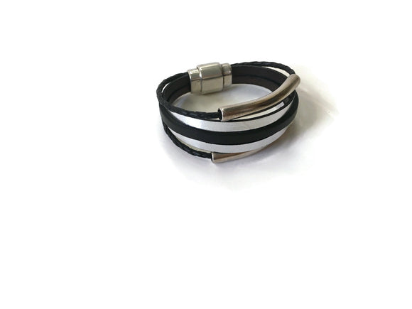 Multi Strand Silver Tubular Leather Magnetic Bracelet Silver