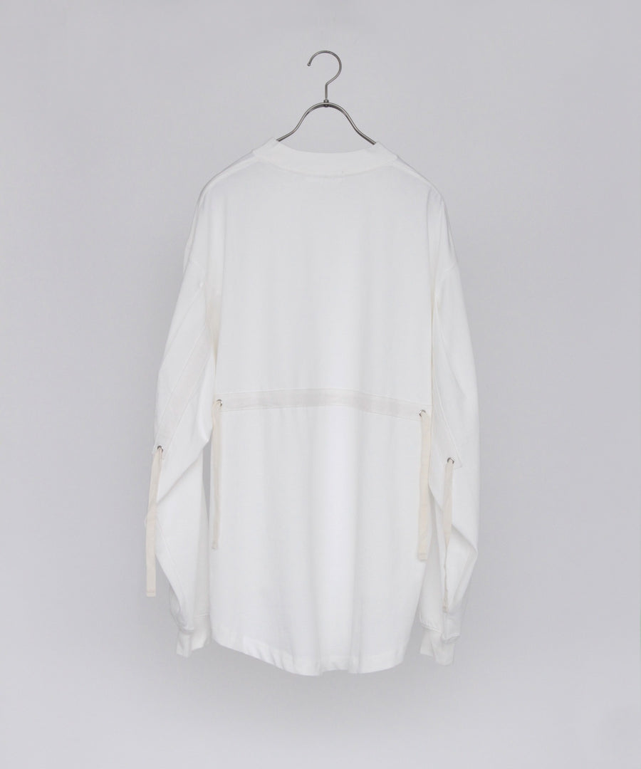 SHEERING L/S MOCK TEE (White)