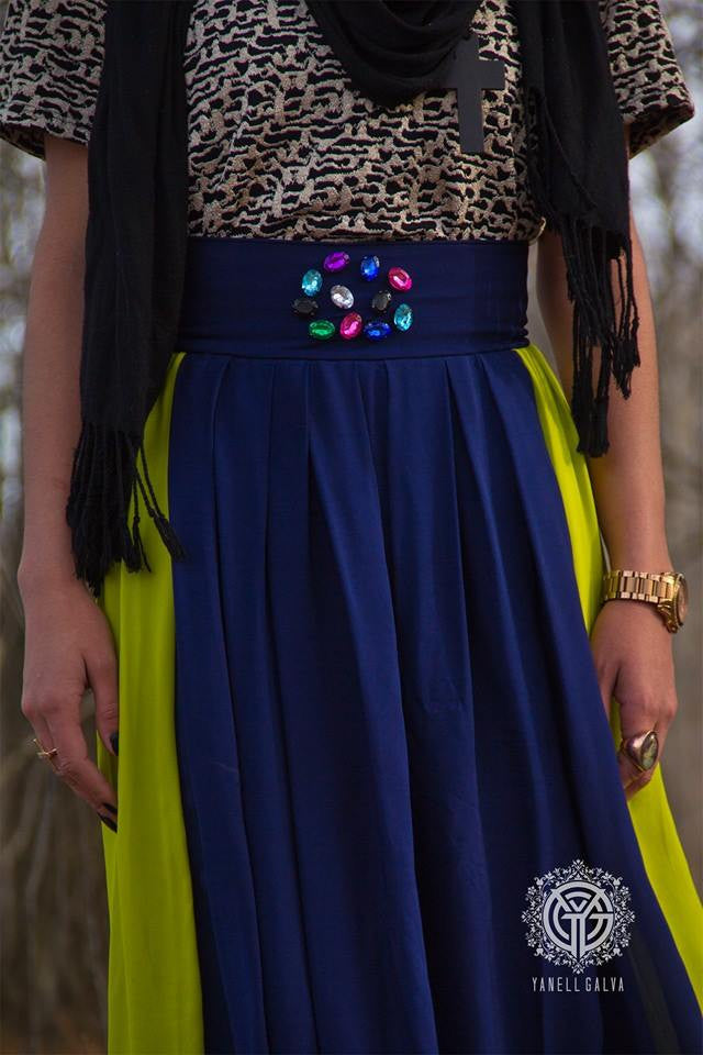 Color Blocking Maxi Skirt