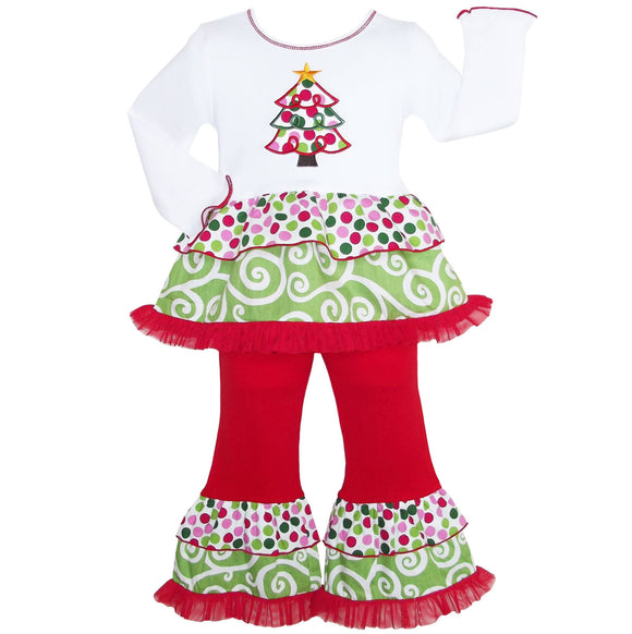 Polka Dot Swirl Christmas Tree Rumba Tunic & Ruffle Pants