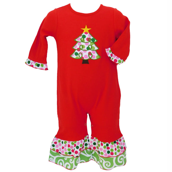 Girls Red Polka Dot Christmas Tree Holiday Romper