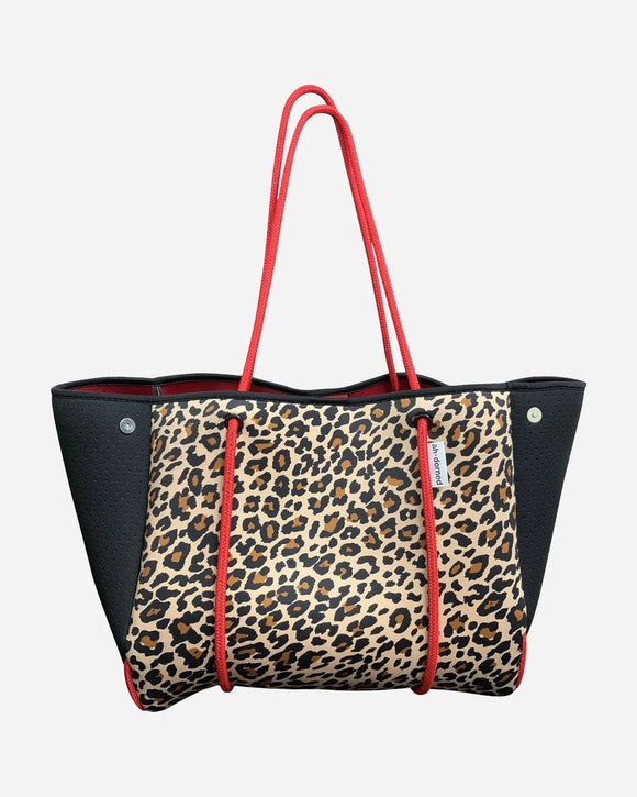 Black Leopard Neoprene Tote With Perforated Sides