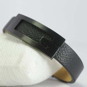 BIG G BLACK LEATHER BRACELET
