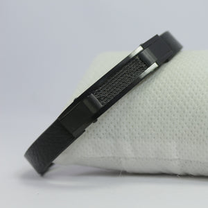 MARSAL FULL BLACK LEATHER BRACELET