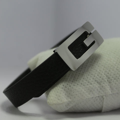 SMALL G SILVER LEATHER BRACELET