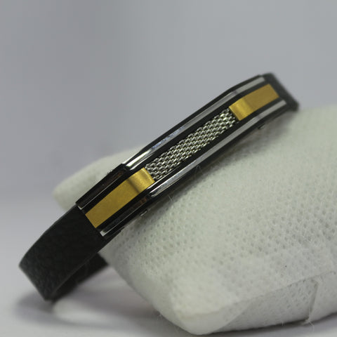 RACCOON  GOLD AND BLACK LEATHER BRACELET
