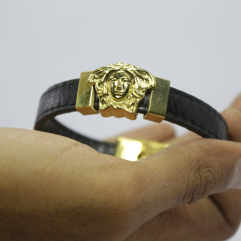 GAMORA GOLD BLACK LEATHER BRACELET