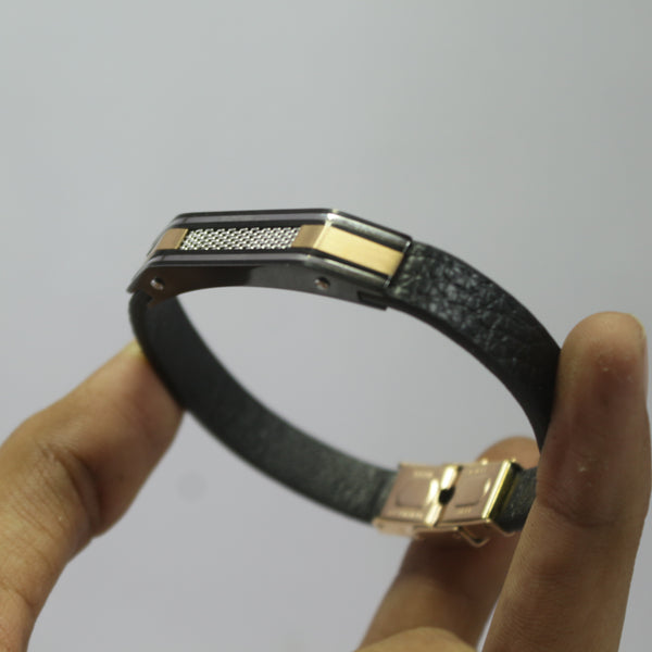 RACCOON ROSE GOLD AND BLACKLEATHER BRACELET