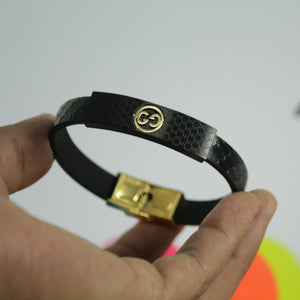 G SQUARE GOLD BLACK LEATHER BRACELET