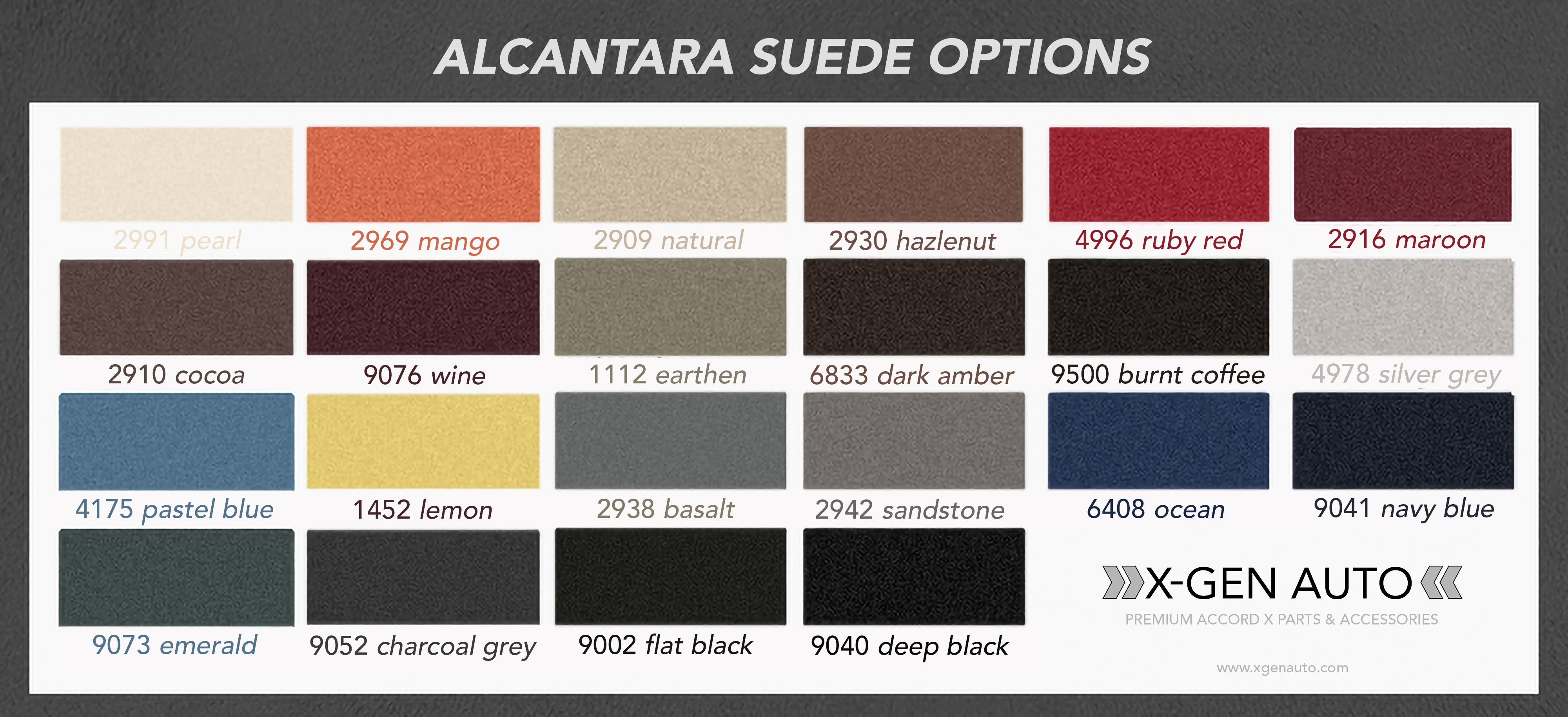 ALCANTARA SUEDE COLOR OPTIONS