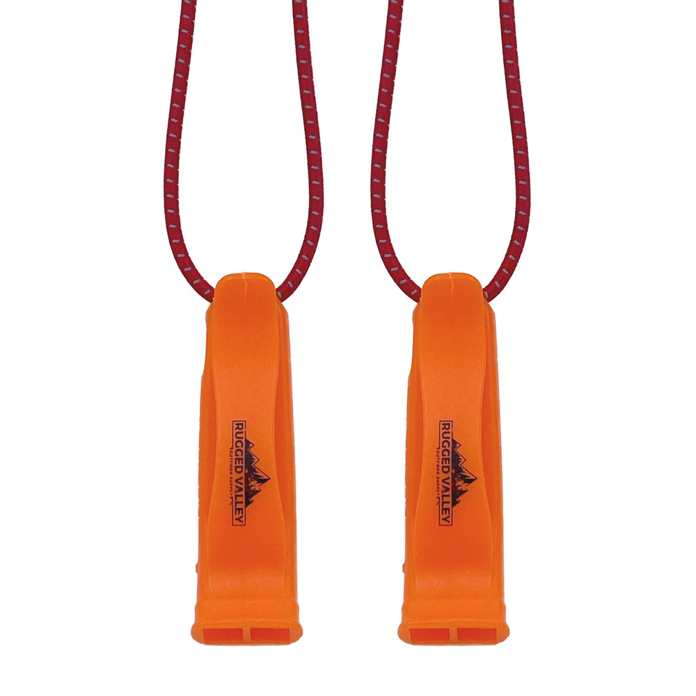 Rugged Valley Emergency Survival Whistles - 130 Decibel Loud, Double Tubed Plastic Whistle w/ Lanyard - Ideal for Outdoor Activities