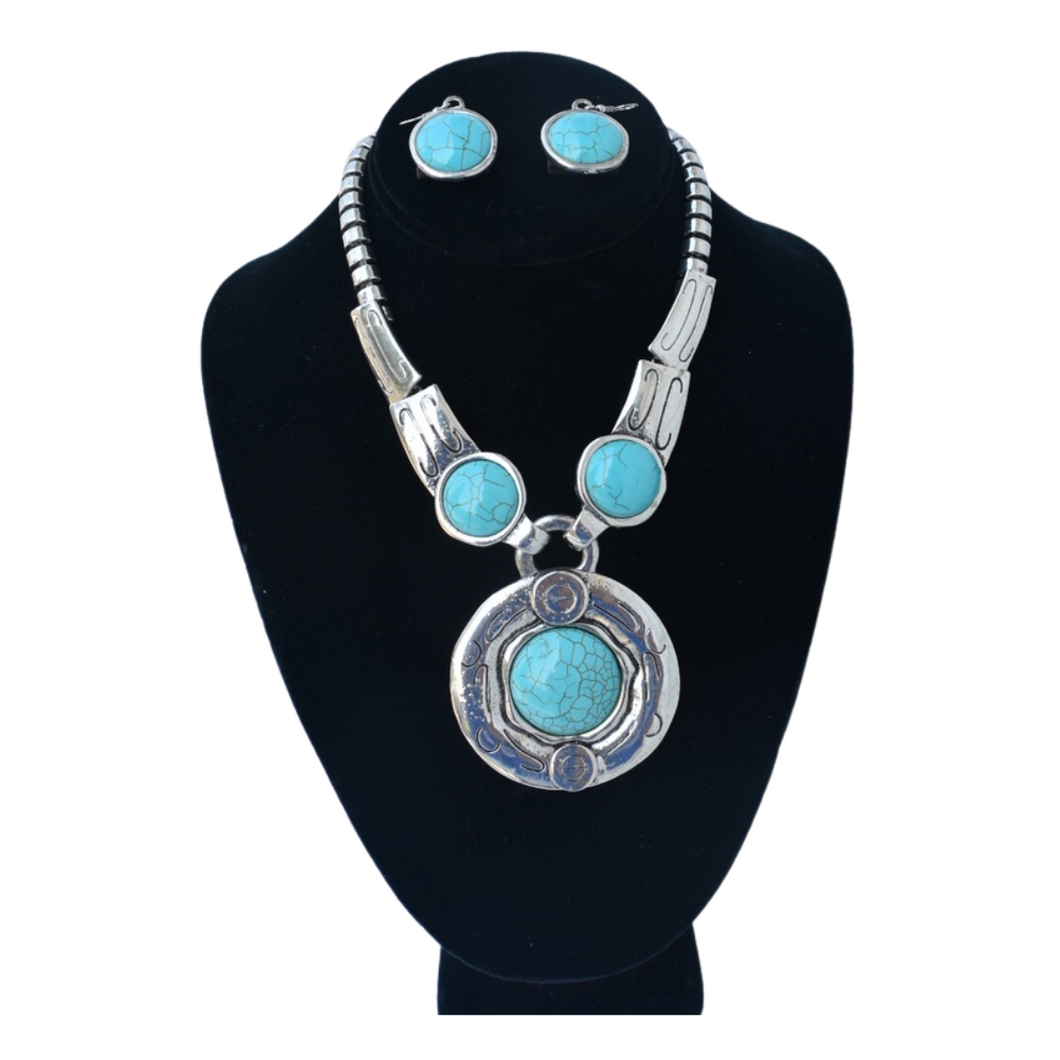 Pave Turquoise Necklace Set