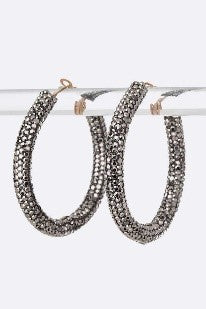 Crystal Pave Hoop Earrings - Hematite