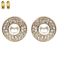 Load image into Gallery viewer, Round Pearl with Stone Clip Earrings