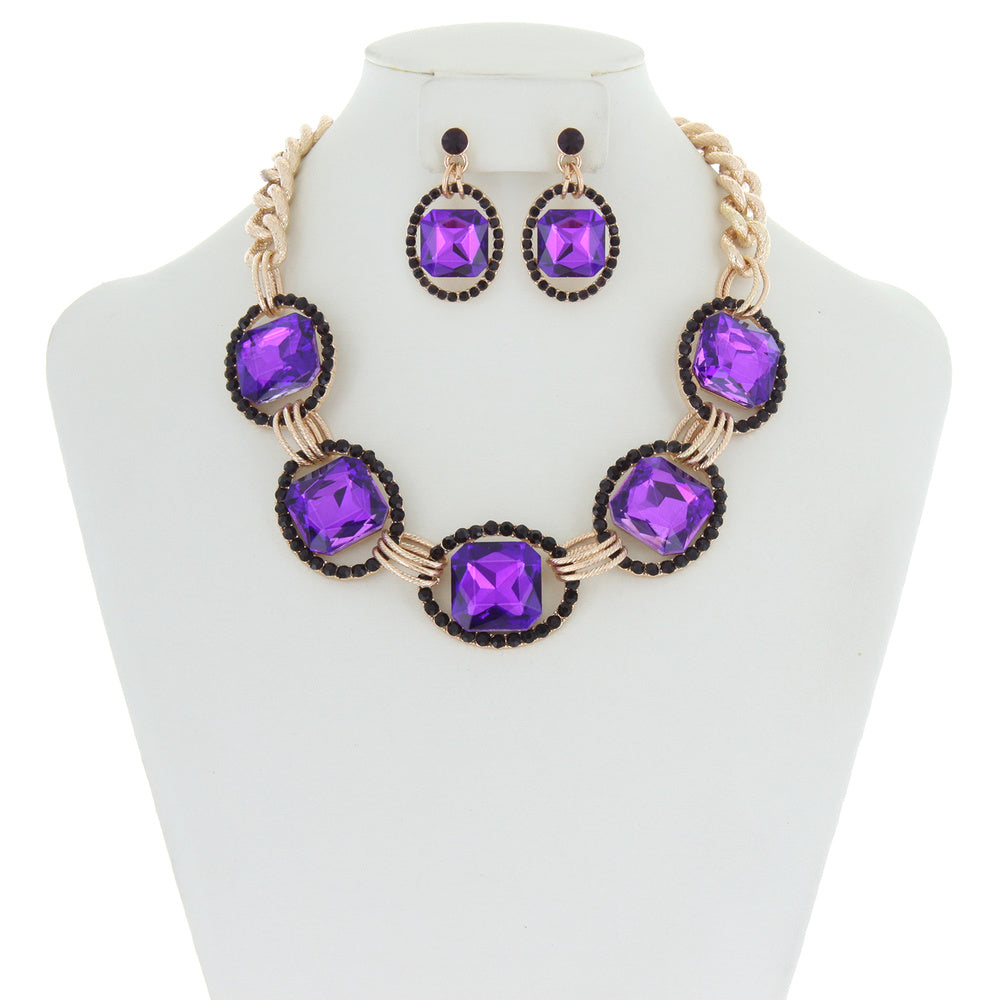 Oval Link Necklace and Earrings Set
