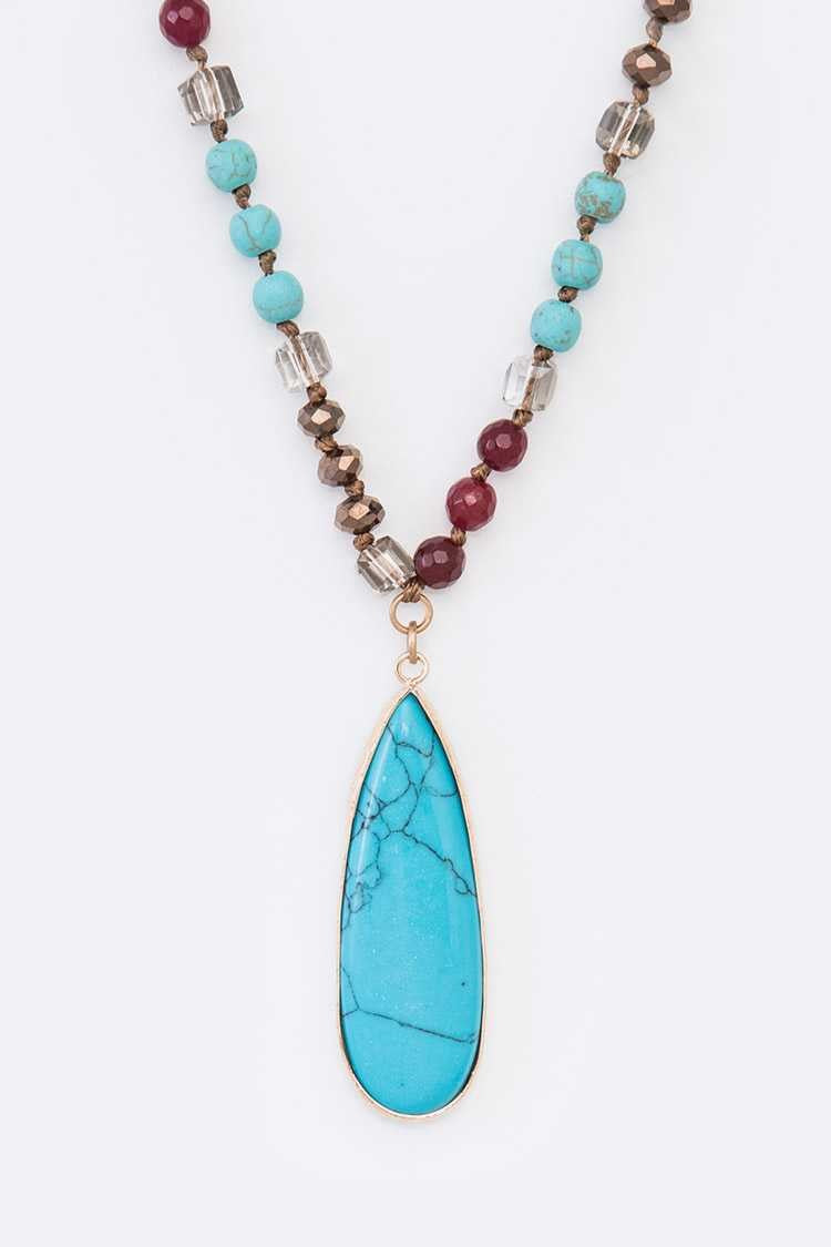 Turquoise Pendant Crystal Necklace