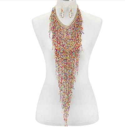 Waterfall Multi-color Seed Necklace Set