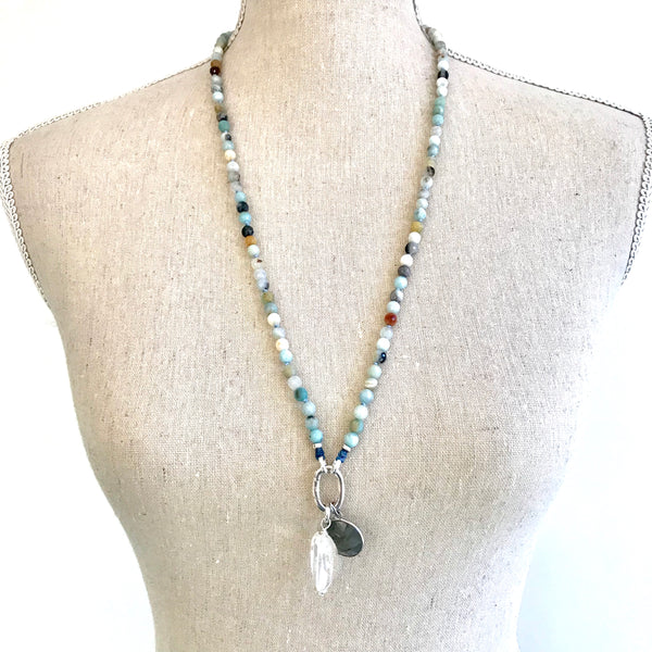 I'm Confident~ Faceted Amazonite Alpa Intention Mala Necklace