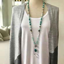 Load image into Gallery viewer, This beautiful Boho mala/necklace is made with 3 different types of gemstones for confidence, tranquility, to help you deal with stress and to support you on your spiritual journey. It features 8mm amazonite, black gold amazonite, turquoise and howlite beads placed together to create a beautiful and timeless piece.