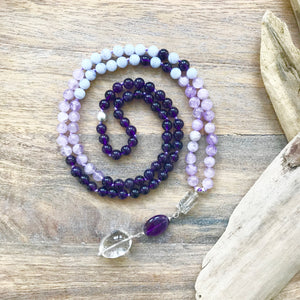 Amethyst, lavender amethyst, blue lace agate and crystal quartz gemstone beads make the perfect combination to help one feel less stressed, quiet the mind and balance the emotions. These powerful gemstones will enhance your meditation practice and will bring serenity, calmness and tranquility to your everyday life.